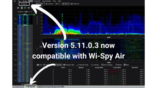 Chanalyzer5.11.0.3がリリースされWiFi6対応・Wi-SpyAirが利用できるようになりました!