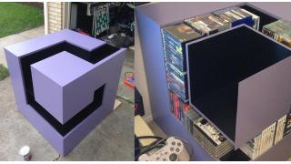 180本のゲームソフトを収納可能!「ゲームキューブ」ロゴを立体的に再現したウッド・ラック