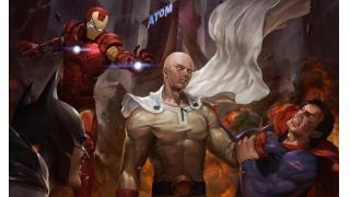 スーパーマンやアイアンマンでさえ雑魚扱い?「ワンパンマン」サイタマがアメコミ・ヒーローたちを圧倒する姿を描いた海外ファンアートが話題に