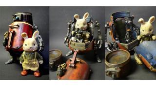 スチームパンクな世界観にむせる 鉄と油にまみれたジャンクパーツで作られた「シルバニアファミリー」専用ロボットフィギュアがすごい