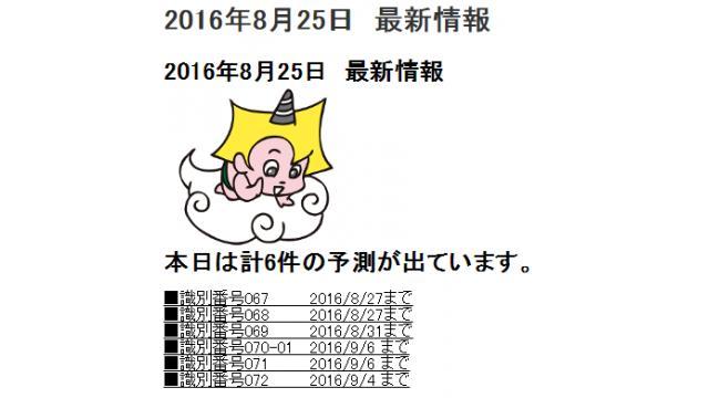 2016年8月25日 最新情報