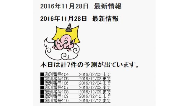 2016年11月28日 最新情報