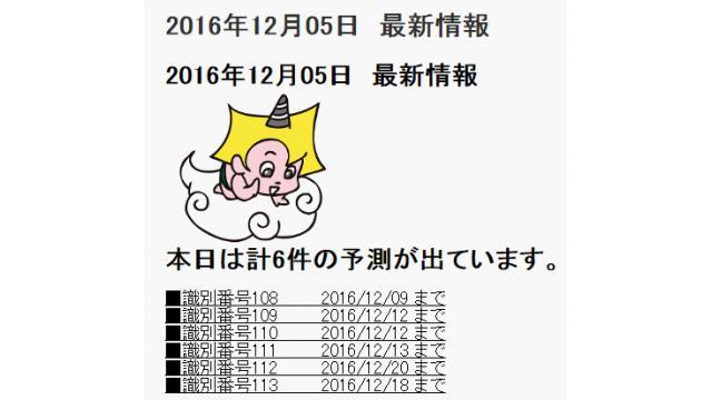 2016年12月05日 最新情報