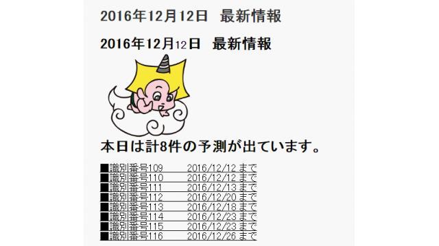 2016年12月12日 最新情報
