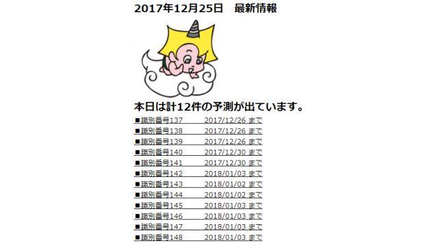 2017年12月25日 最新情報
