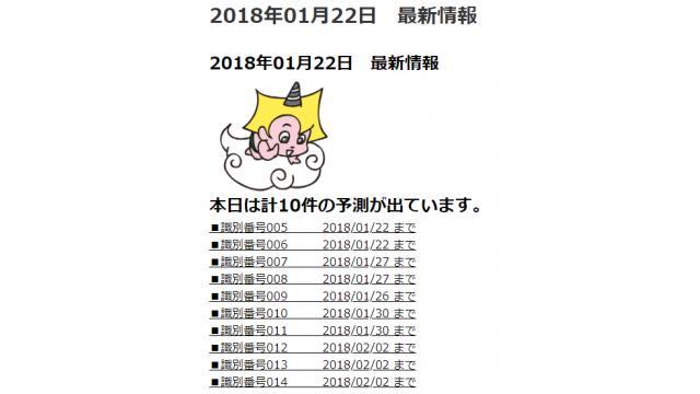 2018年01月22日 最新情報