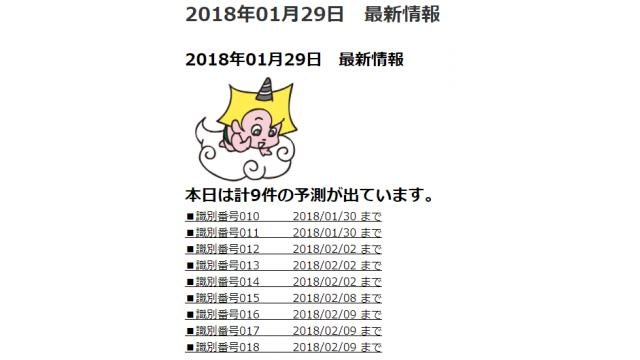 2018年01月29日 最新情報