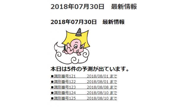 2018年07月30日 最新情報