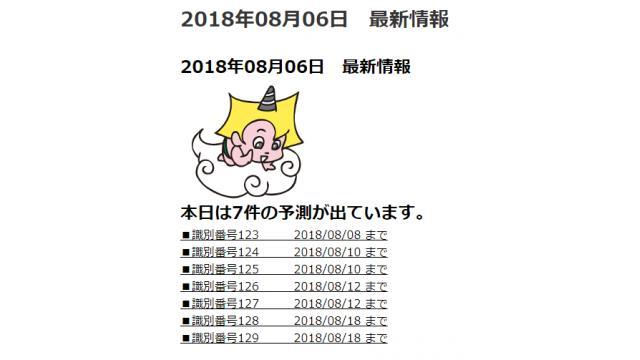 2018年08月06日 最新情報