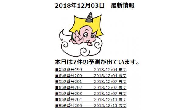 2018年12月03日 最新情報