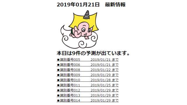 2019年01月21日 最新情報