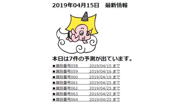 2019年04月15日 最新情報
