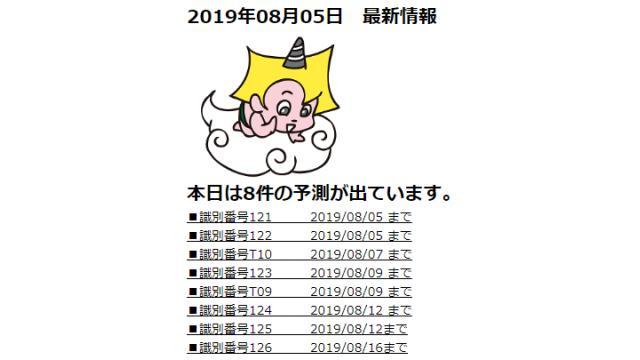 2019年08月05日 最新情報