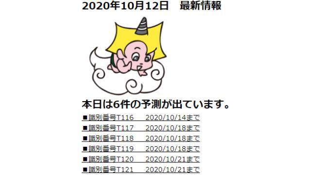 2020年10月12日 最新情報
