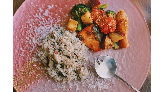 【202021117】そば米のリゾット・鮭と野菜のハニーマスタード炒め
