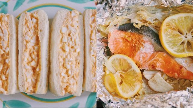 【20201203】サーモンのレモン蒸し・卵サンドイッチ
