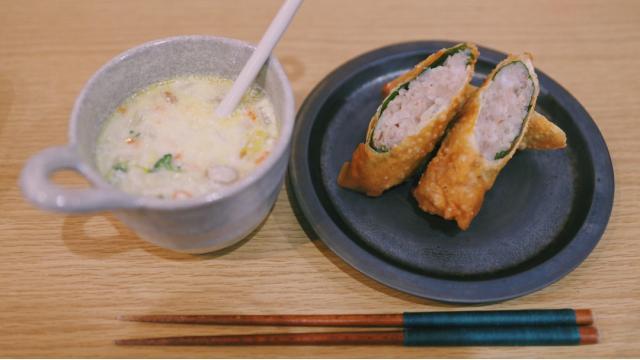 【20210120】エビと蓮根の春巻き・洋風豆乳スープ