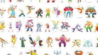 『ストリートファイター』アーケード版シリーズのキャラ57人が描かれたポップなイラスト
