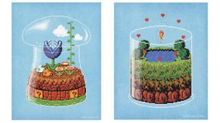キノコ王国とハイラルの生態系を8ビットで描いたドットアート