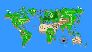おもわず旅行気分! 『スーパーマリオワールド』風の世界地図デザインTシャツ
