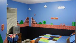 これぞ親の愛か。『スーパマリオ』1-1がテーマの子供部屋