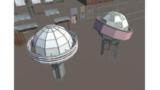 町モデル進捗-屋上の球のアレ