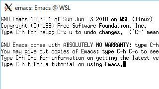 Emacs 18.59 on WSL ubuntu 18.04 LTS