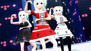 【MMD】VRoid Victoria Rubin ヴィクトリア・ルービン 黒ワンピース 白&赤ドレス「アイノソラ」【モデル配布】DL