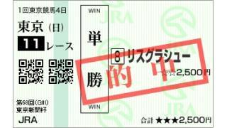 #東京新聞杯 安く的中 3番人気 #リスグラシュー ちん祝!的中