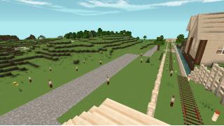 [マイクラ日誌] 線路沿いには散歩道という印象 #minecraft