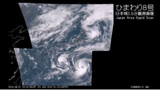 【台風11号 北海道上陸】気象衛星ひまわり8号 日本域2.5分観測画像 - 2016.08.21