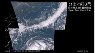 【台風10号 再発達】気象衛星ひまわり8号 日本域2.5分観測画像 - 2016.08.27