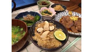 9月25日 松茸ご飯、ピーマンの焼きびたし、煮豚など