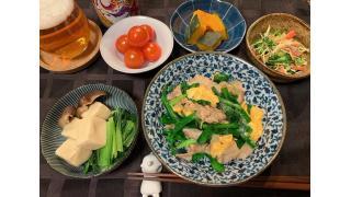 5月3日 豚ニラ玉、高野豆腐の煮物、きゅうりとカニカマの酢の物