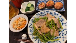 5月9日 ニンニクの芽と豚バラの炒め物、しいたけのカニカママヨチーズ焼き