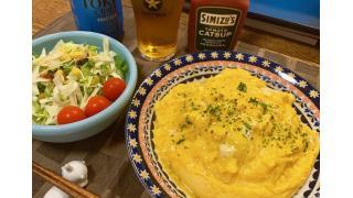 8月25日 ミートソース炒めご飯にバターで焼いた卵を乗せたもの