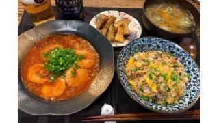4月5日 エビチリ、たけのこ醤油バター、イカ塩辛焼き飯、餃子のタネ入りスープ