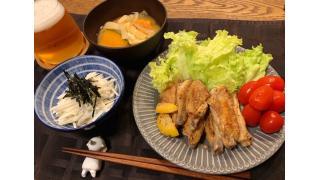 5月12日 手羽中のレモン塩焼き、山芋千切り、南瓜のお味噌汁