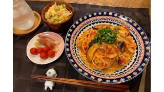 7月15日 ポテトサラダ、豚バラとなすのトマトパスタ