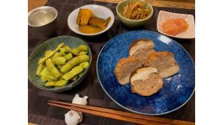 8月18日 豚ひき肉と海老の椎茸詰め、枝豆、かぼちゃ煮など