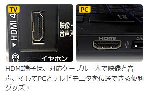 HDMI端子は、対応ケーブル一本で映像と音声、そしてPCとテレビモニタを伝送できる便利グッズ!